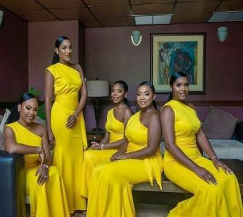 Yellow One Shoulder Mermaid Bridesmaid Dress 2022 African Satin Sash Pleats Long Formal Wedding Guest Party Gown Simple