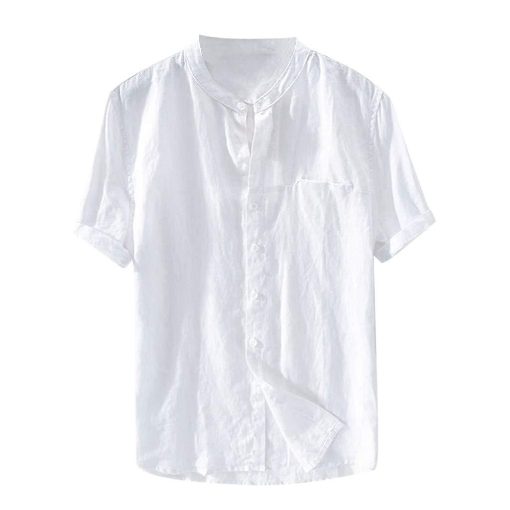 Men Baggy Cotton Linen Solid Color Short Sleeve Button Down Retro T Shirts Tops Blouse Beach Style  Cotton