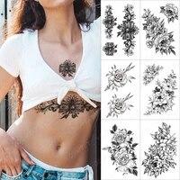 lace black bow temporary tattoo sticker for men women adult rose flower peony waterproof fake henna old school body art tatoo de