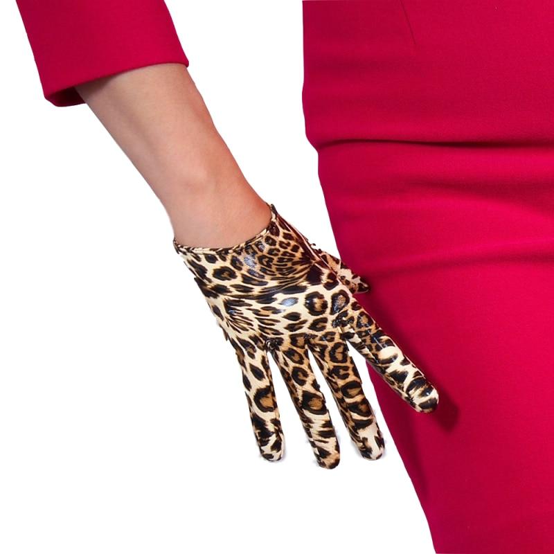 Leopard Leather Gloves 16cm Patent Ultra Short Emulation PU Bright Brown Animal Pattern Female PU29