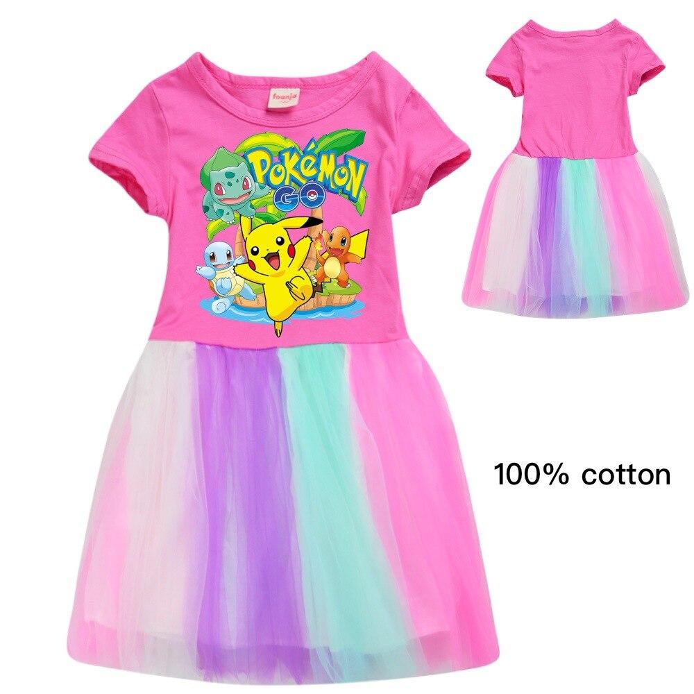 2020 Fashion POKEMON GO Cartoon Cute Ball Gown Dress Kids Child Lovely Dress girls dress toddler dresses princess dress