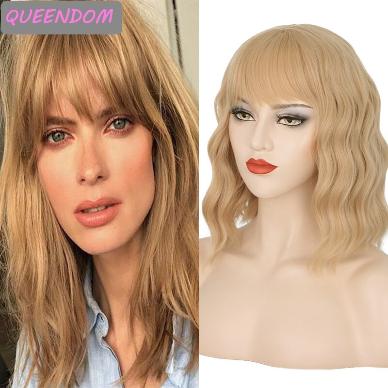 Honey Blonde Short Water Wave Wig 14 Inch Natural Wave Synthetic Hair Wig with Bangs Heat Resistant Lolita Cosplay Wig for Women