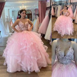 New Arrival V Neck Pink Quinceanera Dress with Ruffles Lace Beaded Tiered Ruffles Tulle Ball Gown Sweet 16 Dresses