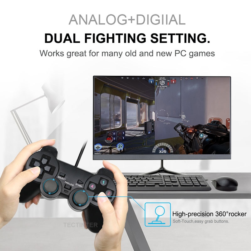 Wired USB PC Game Controller Gamepad For WinXP/Win7/8/10 Joypad For PC Windows Computer Laptop Black