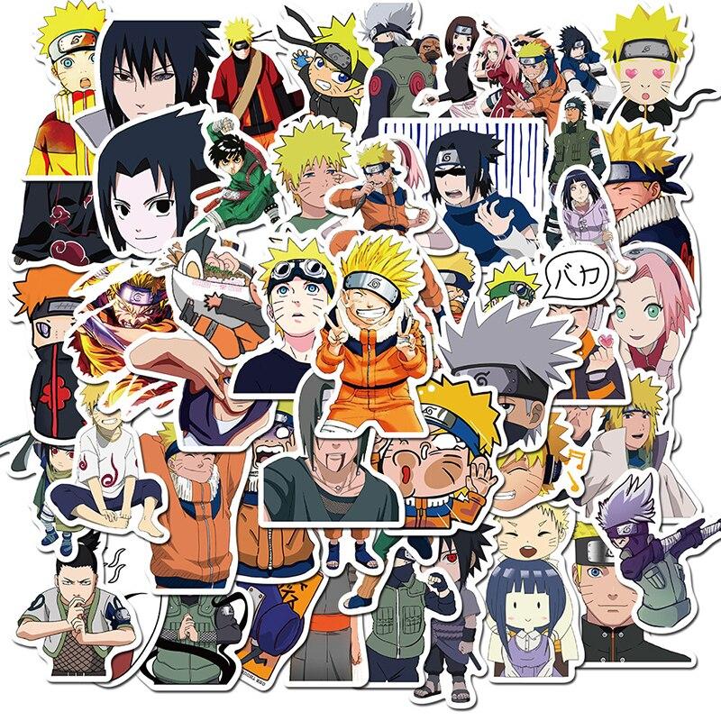 50 pièces nouveau Naruto autocollants Pack vinyle pour enfants guitare ordinateur portable téléphone PS4 Skateboard voiture vélo enfants jouet dessin animé Anime autocollant