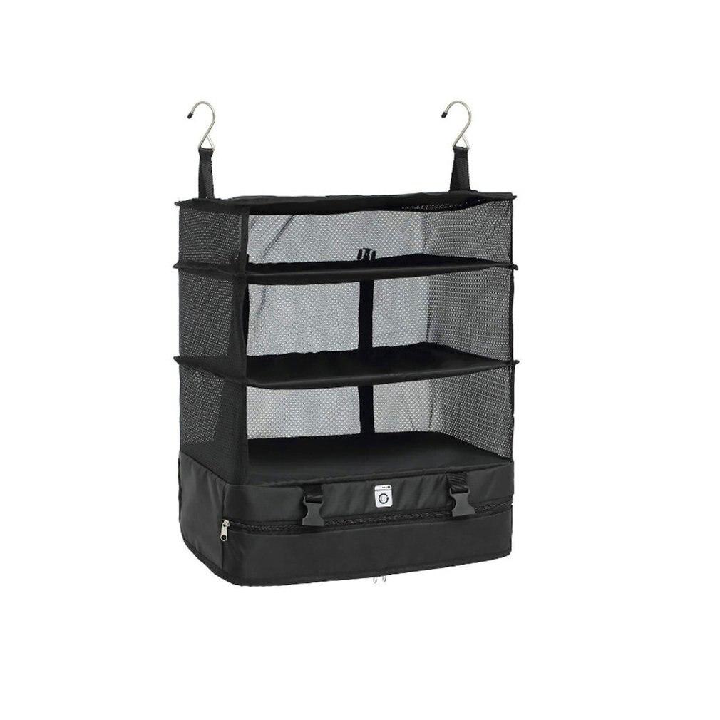 Bolsa de almacenamiento de viaje portátil gancho colgante organizador armario ropa almacenamiento estante titular viaje maleta estantes