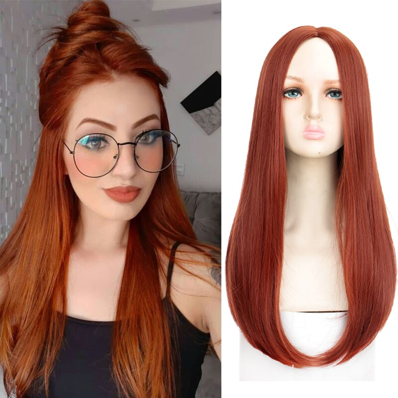 XUANGUANG Synthetic Heat Resistant Wig Long Straight Hair Orange Copper Red Cosplay Middle Part Straight Hair 57CM Daily Wig