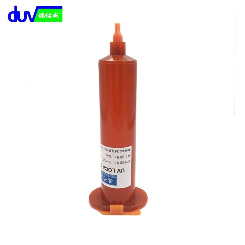 DUV 30g TP-2500 LOCA UV-kleber flüssig optical klar klebstoff tp 2500 uv kleber tp2500 für touchscreen huawei samsung galaxy iPhone