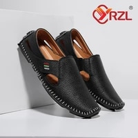 classic summer loafers for men breathable driving flats velcro casual slip on shoes pu leather sandals for men plus size 48