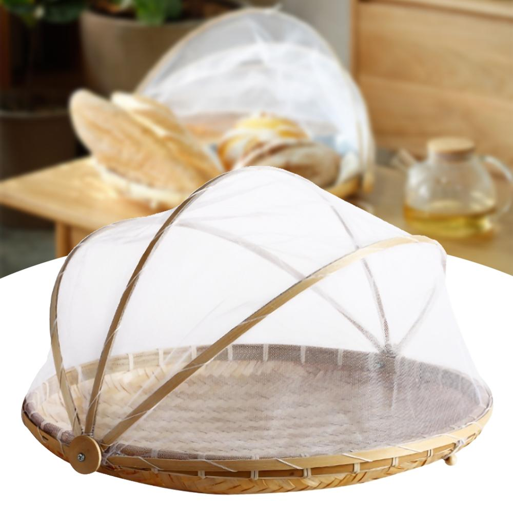 Hand-Woven Food Serving Tent Basket Tray Fruit Vegetable Bread Storage Basket Simple Atmosphere Outdoor Picnic Mesh Net Cover