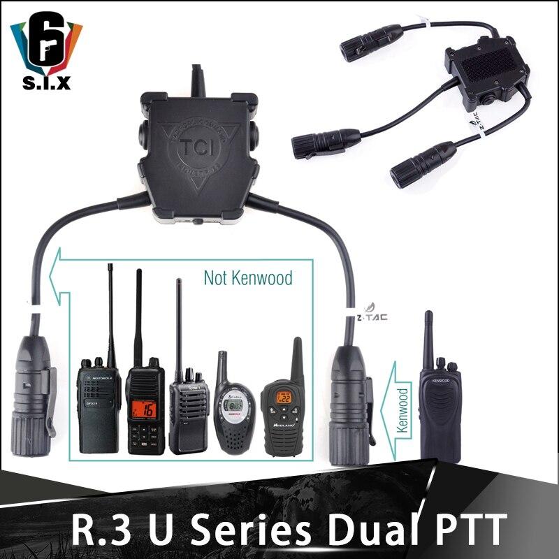 Z-tac r.3 u série dupla ptt fone de ouvido acessórios airsoft conector conexão simultânea de dois walkie-talkie kenwood fone de ouvido