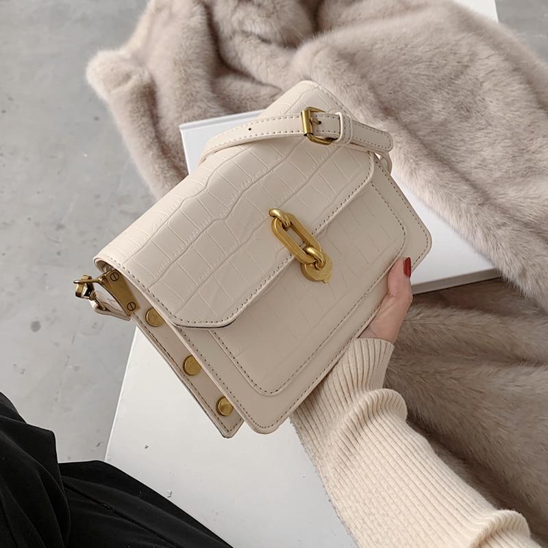 Bolso cruzado pequeño de piel sintética con tachuelas para mujer, bandolera con diseño de bloqueo de cocodrilo, bolso de hombro