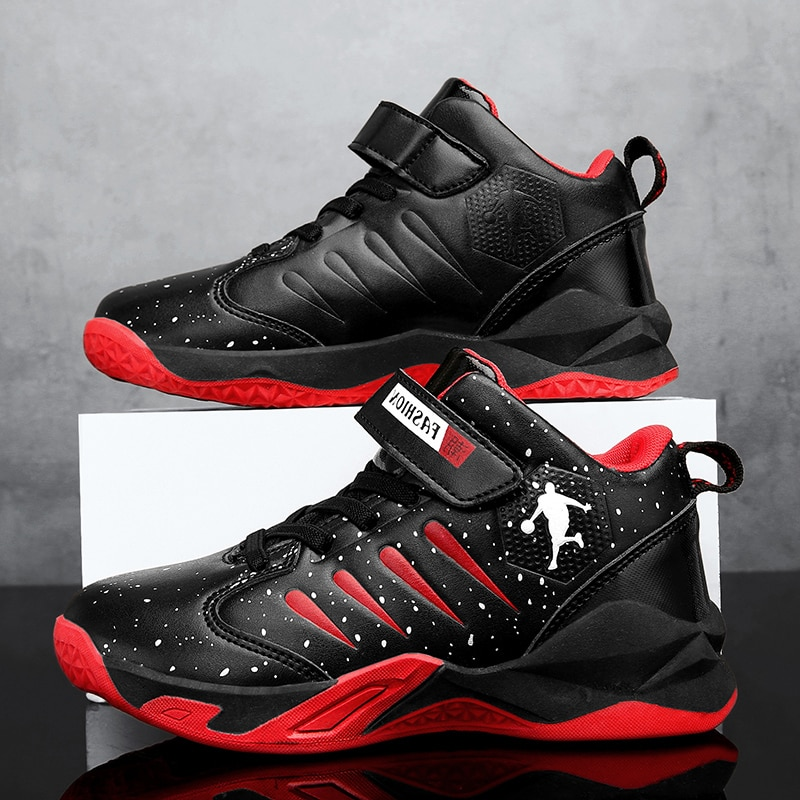 أحذية رياضية جلدية غير رسمية للأطفال ، أحذية رياضية للجري وكرة السلة للأولاد 13-14 سنة