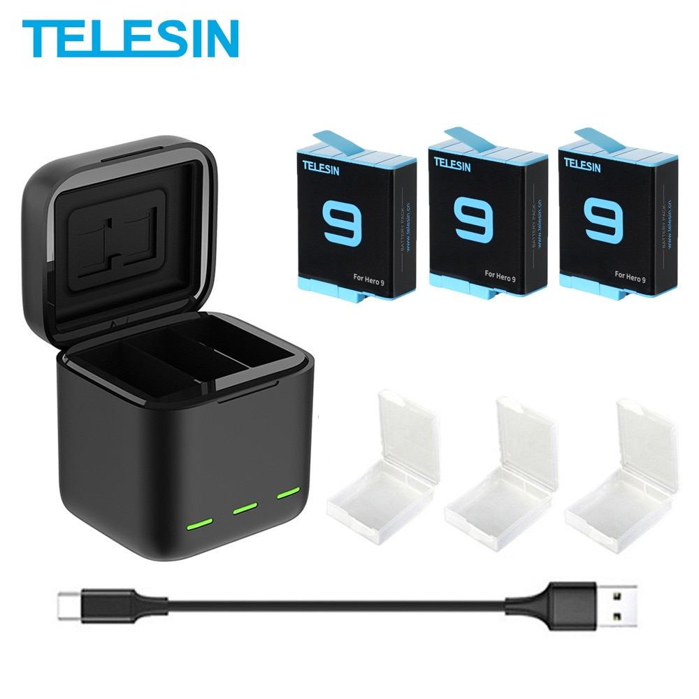 TELESIN Battery 1750 mAh for GoPro Hero 9 3 Ways LED Light Battery Charger TF Card Battery Storage For GoPro Hero 9 Black telesin 3 way led battery charger 3 battery pack charging box type c cable for gopro hero 8 7 6 hero 5 black accessories set