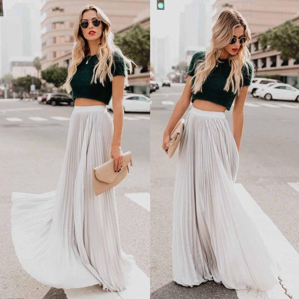 Spring and summer new style European American large size high waist pleated skirt swing