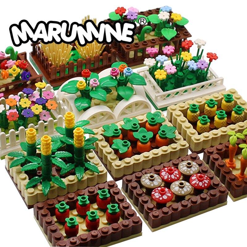 Конструктор «сделай сам» садовая ферма, строительные блоки MOC, цветок, фрукты и овощи, креативный подарок, Обучающие Детские игрушки