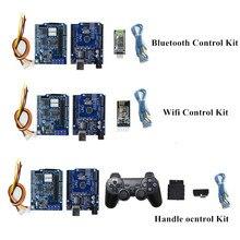 Bluetooth, WiFi, poignée Kit de contrôleur de bras de voiture Robot pour Arduino avec UNO R3, carte de pilote de moteur, Module WiFi, Module Bluetooth