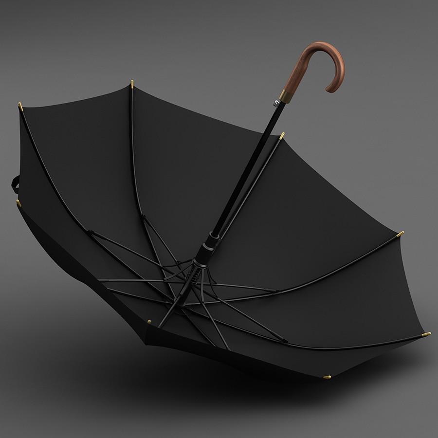 Luxury Umbrellas Solid Wood Strong Windproof Large Windproof Rain Long Handle Umbrellas Business Men Paraguas Rain Gear DF50YS enlarge