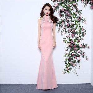 Luxury Evening Gowns High Neck Appliqued Mermaid Pink Prom Dress robe de soiree 2019 Sleeveless Party Gowns abendkleider kurz