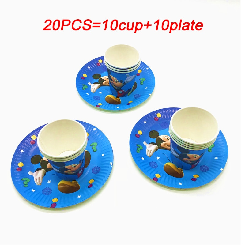 Disney Mickey Mouse Happy Birthday Party Decorations Kids Plate Cup Disposable Tableware Baby Shower Event Party Set