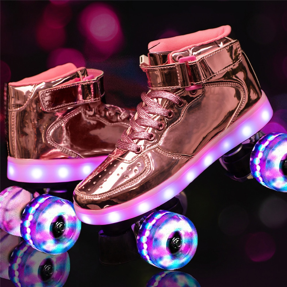 2021 جديد Led قابلة للشحن 7 الملونة فلاش أحذية صف مزدوج 4 عجلة زلاجات دوارة في الهواء الطلق الرجال النساء Patines