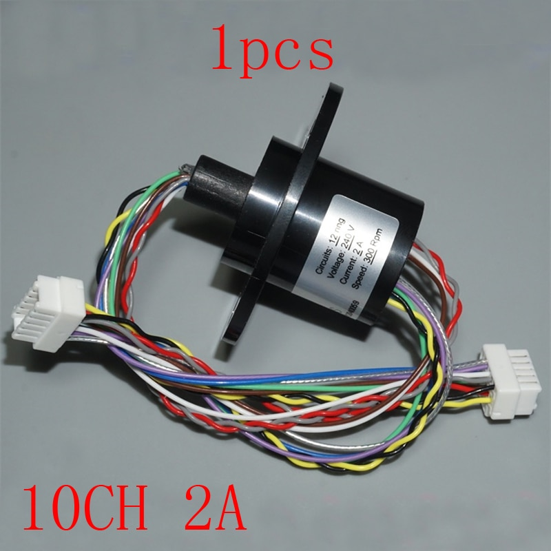 1 ud. Cápsula de conductor de deslizamiento de anillo de 22mm de diámetro 10ch 2A, Mini anillo colector de señal de deslizamiento giratorio para PTZ, Robot de bricolaje, articulación de conexión