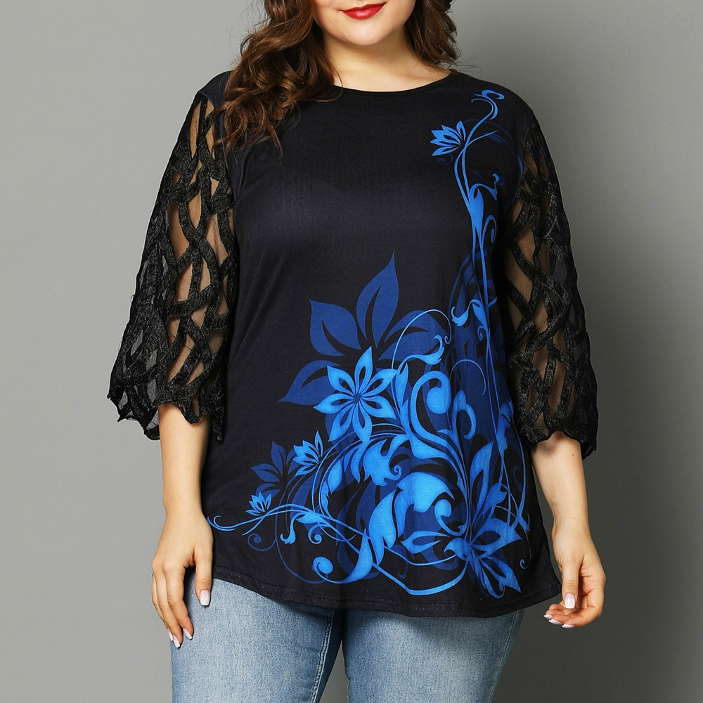 Blusa con detalle de botones con estampado Floral para mujer 2020, blusa informal de verano con cuello redondo, Túnica de manga calada, Tops y blusas para mujer de talla grande 5XL
