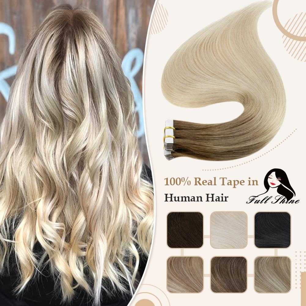 شريط Omber لامع بالكامل في وصلات شعر طبيعية شعر بشري شقراء اللون 100% شعر بشري ريمي سلس الجلد لحمة الغراء على الشعر