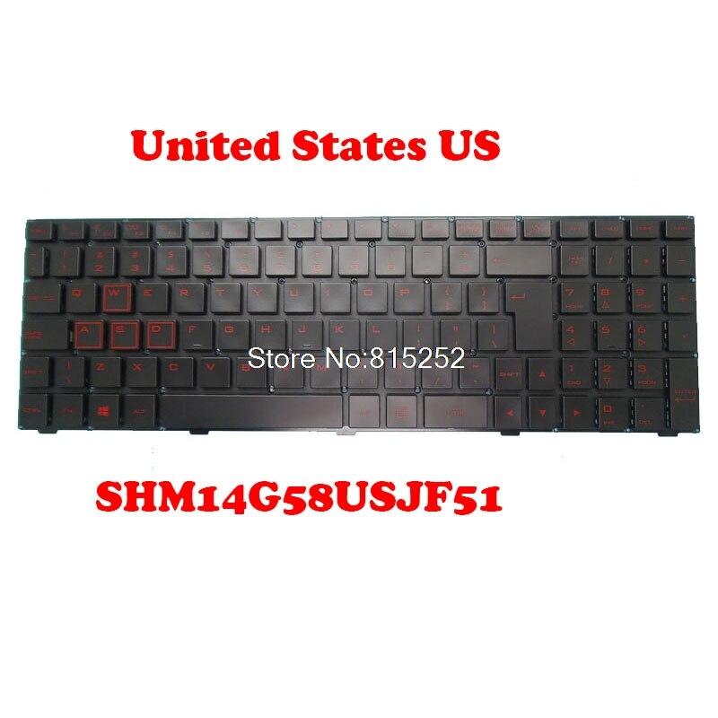 Laptop Keyboard For MAINGEAR K15 A13 SHM14G58USJF51 82R-15D038-4012 14G5JF510USW-D United States US Black New No Backlit film
