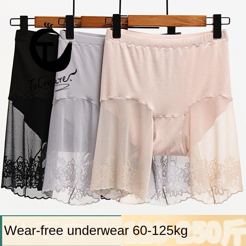 100kgLarge Sexy dentelle Leggings Anti-exposition graisse taille haute maille fil coton sueur-absorbant sécurité été