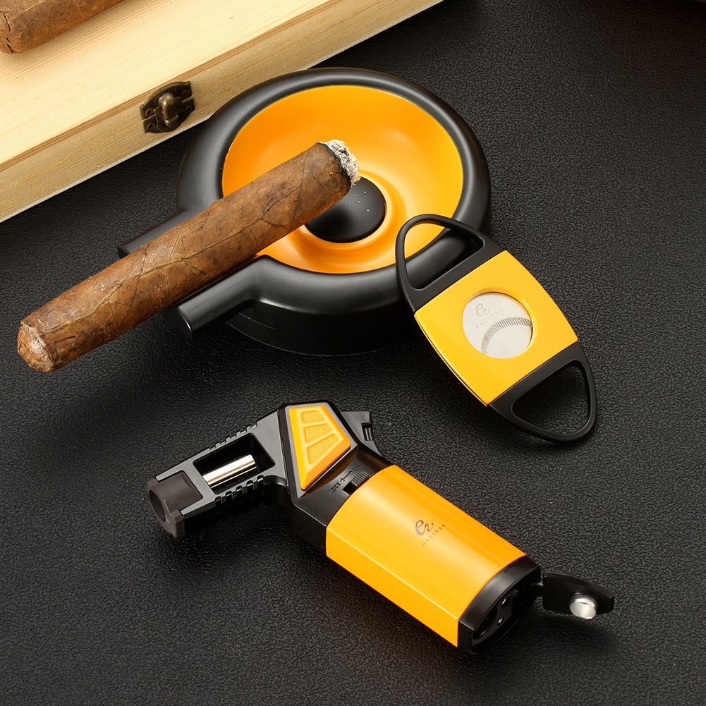 GALINER Luxury Cigar Accessories Set Portable Butane Gas Gun Torch Lighter Metal Sharp Straight Cut Cigar Cutter Round Ashtray enlarge