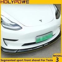 car segmented sport front shovel for tesla model 3 universal bumper body kit splitter exterior decoration modified accessories