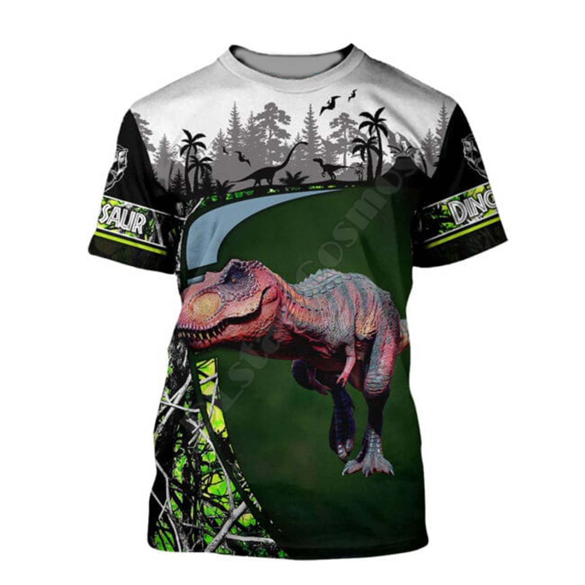 Женские и мужские футболки с 3D-принтом Love Dinosaur, летние повседневные футболки с коротким рукавом, Прямая поставка 04