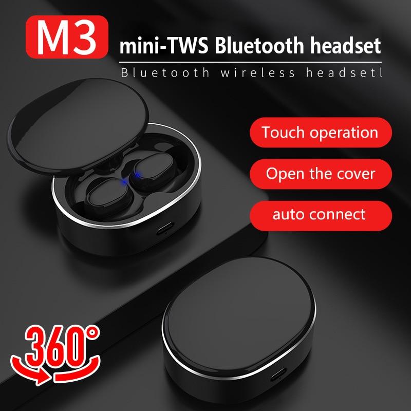 M3 TWS auriculares inalámbricos Bluetooth 5,0 auriculares estéreo de alta fidelidad deportivos impermeables Bluetooth con micrófono para iPhone/Samsung/Xiaomi