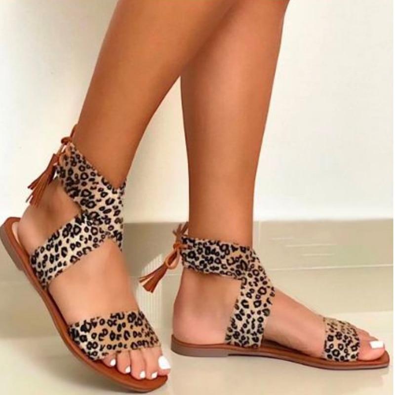 2021 New Women's Flat Sandals Leopard Fringe Fashion Solid Ladies Plus Size Shoes Comfortable Outdoor Leisure Women Footwear