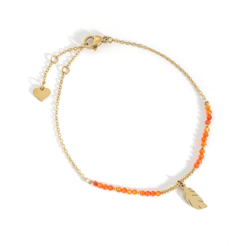Stainless Steel Crystal Bracelets Gold Chain Gift For Women Feather Design Aesthetics Personalized A
