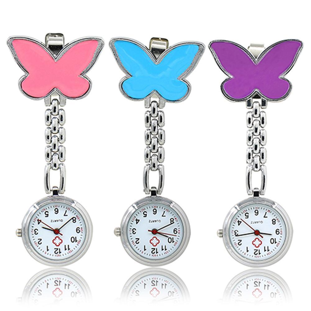 Amecor mariposa de moda enfermera Cl-ip-on broche colgante reloj de bolsillo de cuarzo colgante