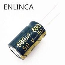 4 pièces/lot H206 50V 680UF condensateur électrolytique en aluminium taille 13*20 680UF 20%