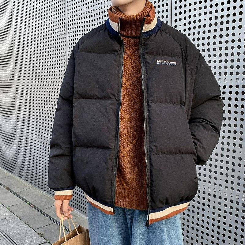 Мужские парки, зимняя мужская куртка-пуховик, верхняя одежда, пальто, ветровка, теплая Толстая Подростковая Повседневная преппи унисекс пар...