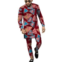 kanga print clothes men shirtpant sets full sleeve tops with trousers ankara outfits traditional design african grrom suits