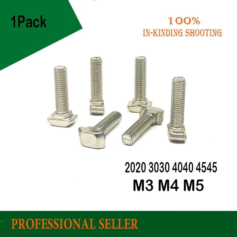 2020 3030 4040 4545 Serie M3 M4 M5 M6 M8 * 10/12/16/20/25mm Hammer Kopf T Bolzen Nickel Überzogene Für Aluminium Profil T-slot t schraube