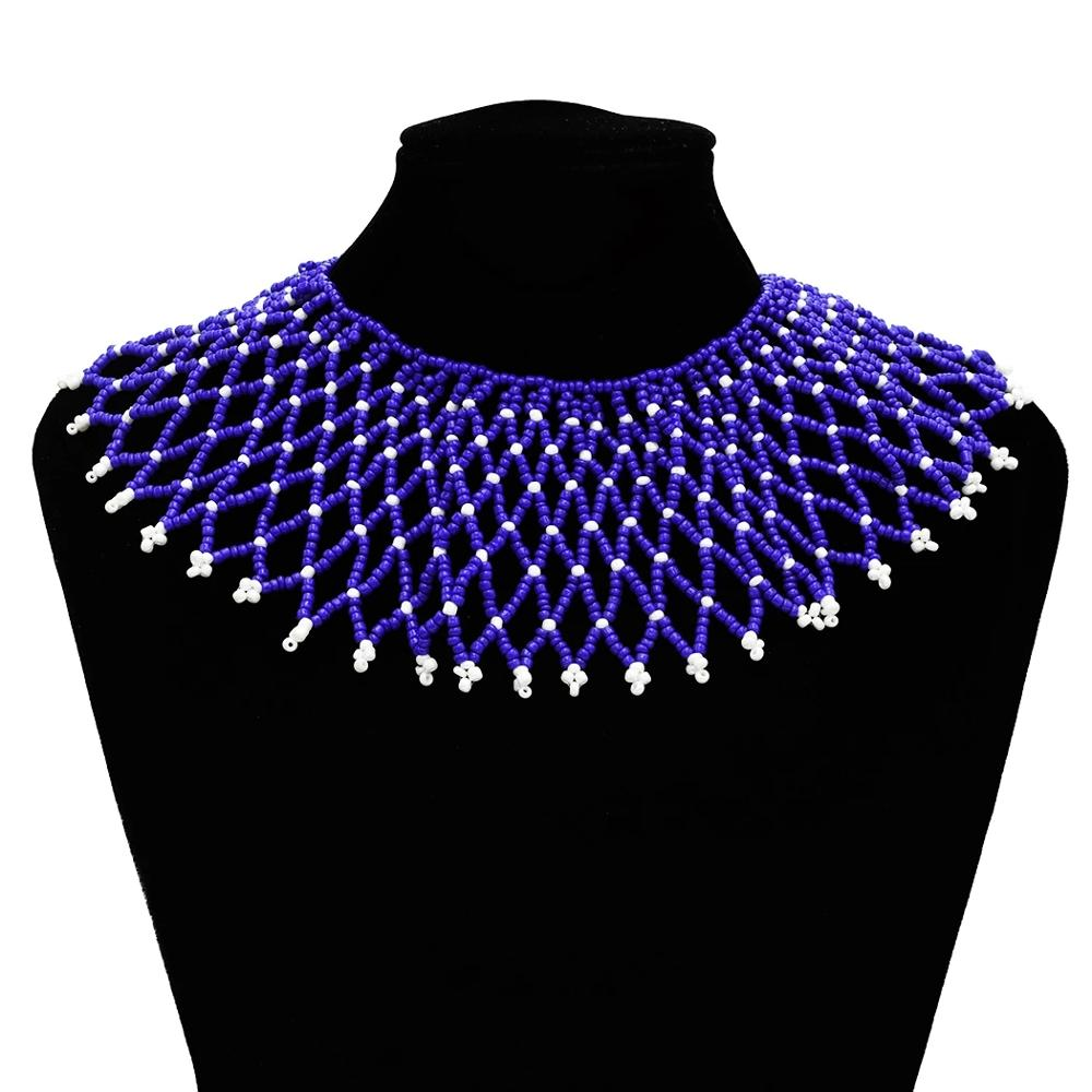Collar étnico turco de resina con cuentas declaración gargantilla babero Collar de malla Africana India Tribal egipcio joyas de cuello étnico