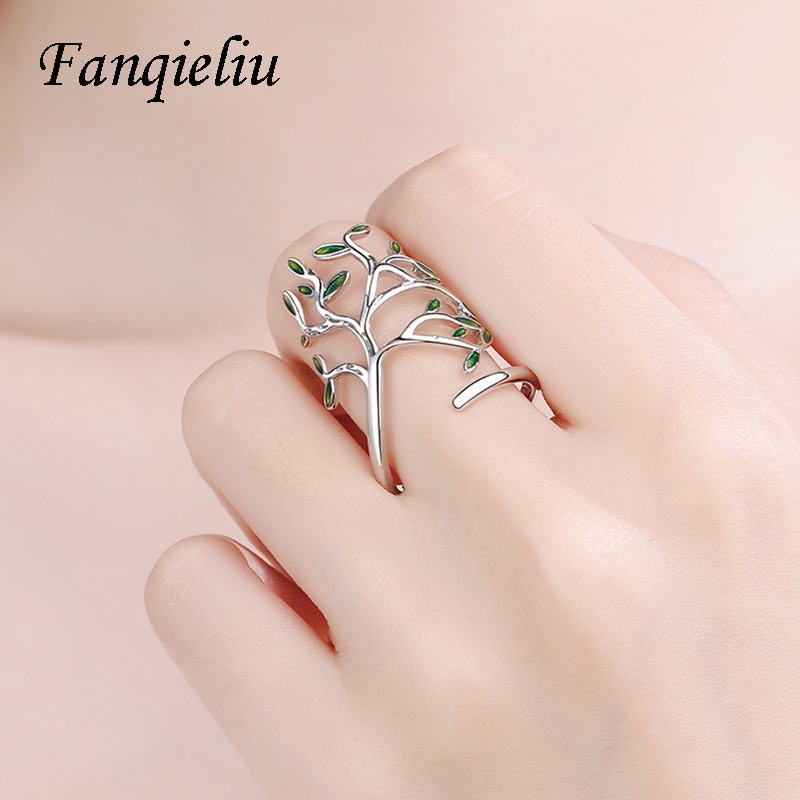 Fanqieliu Vintage Tree Solid 925 Sterling Silver Ring For Women Adjustable Wedding Bands FQL20499