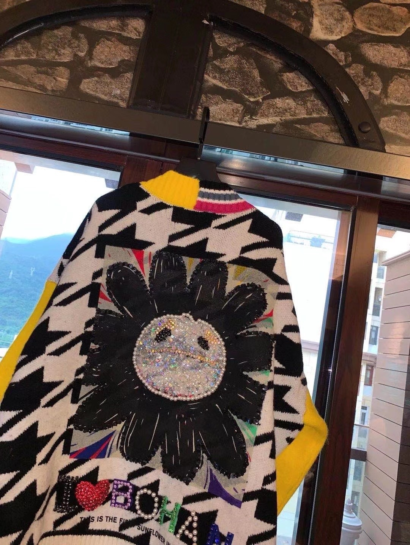 2021 New Spring женские свитера Women кардиган Heavy Industry Sunflower Oversized Wool Knit Cardigan Jacket Female Sweater топ enlarge