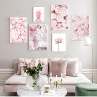 WTQ     decoration murale scandinave  ananas Rose  Rose  fleur de Lotus  imprime Floral botanique nordique  Art mural  photo  decor de salle  decoration de maison