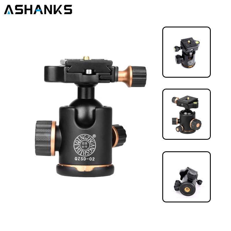 """ASHANKS Q02 шаровая Головка штатива для камеры с быстроразъемной пластиной 1/4 """"винт Максимальная нагрузка 8кг для штатива монопод слайдер"""