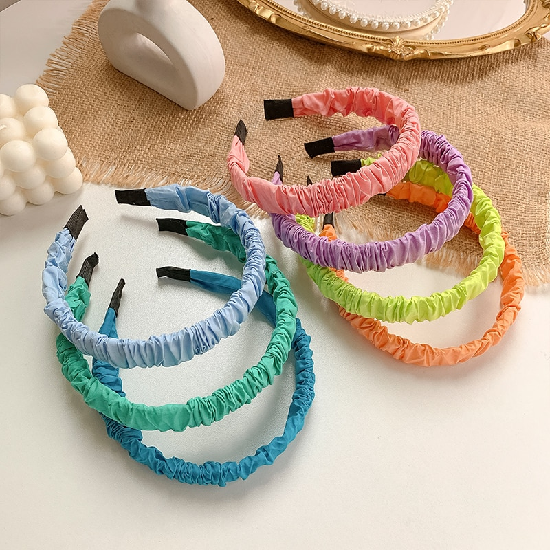 Colorful Pleated Headband for Women All-Match and Sweet Go out Internet Celebrity Minimalist Solid C