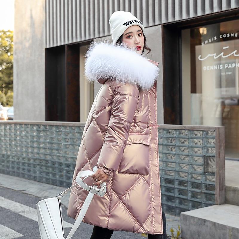 السيدات أنيقة لامعة 2021 جديد طويل مقنعين سترة مع الفراء طوق الشتاء سترة المرأة جيب عادي سميكة معطف دافئ