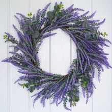Lavender and Eucalyptus Artificial Flower Wreath Front Door Summer Wreath 25 CM New Home Gift Birthday Gift DIY Accessories