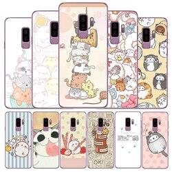 Kawaii molang desenhos animados anime gato desenho tpu macio caso de telefone para samsung galaxy s6 s7 borda s8 s9 s10 plus s10lite note8 note9